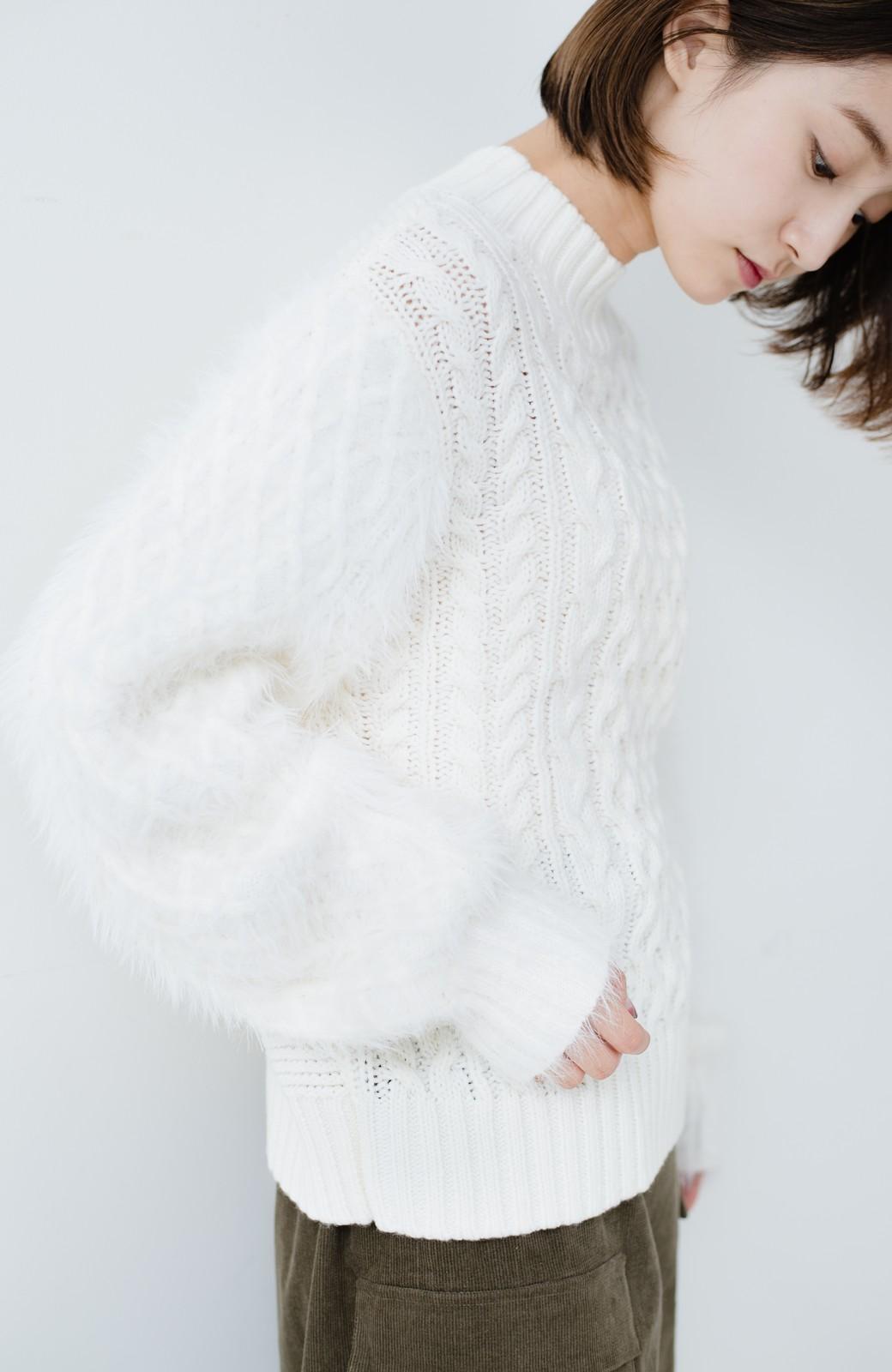 haco! ケーブル編みの袖フェザーヤーンニットトップス <ホワイト>の商品写真15