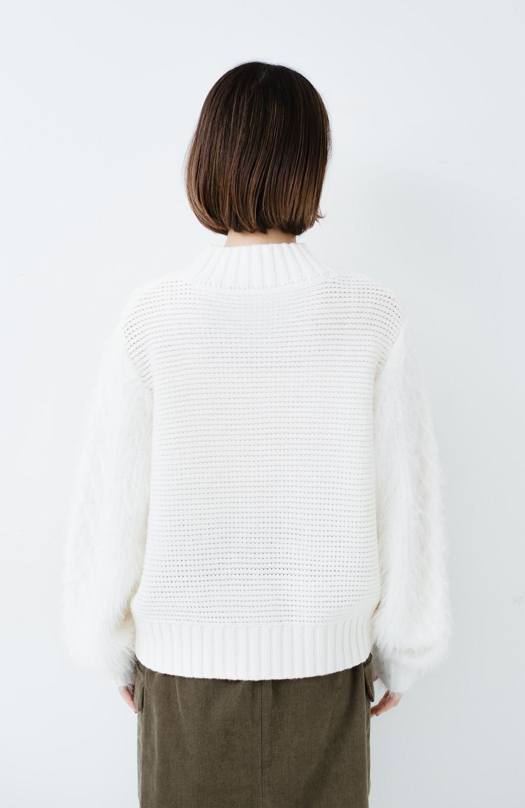 haco! ケーブル編みの袖フェザーヤーンニットトップス <ホワイト>の商品写真16
