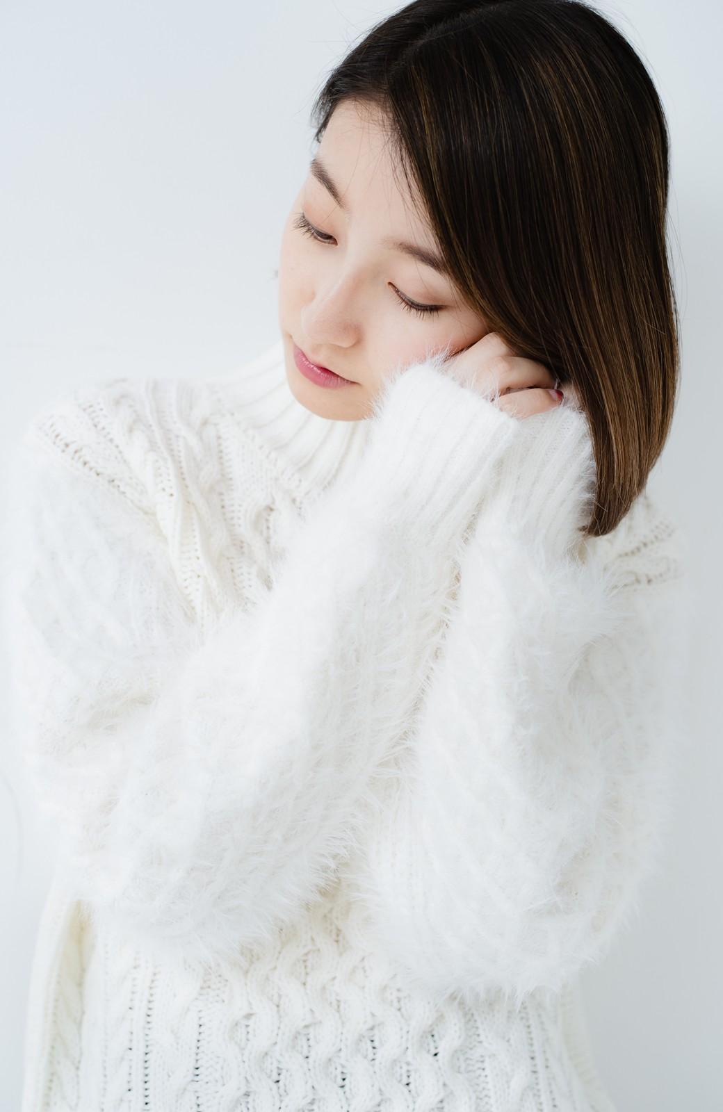 haco! ケーブル編みの袖フェザーヤーンニットトップス <ホワイト>の商品写真17