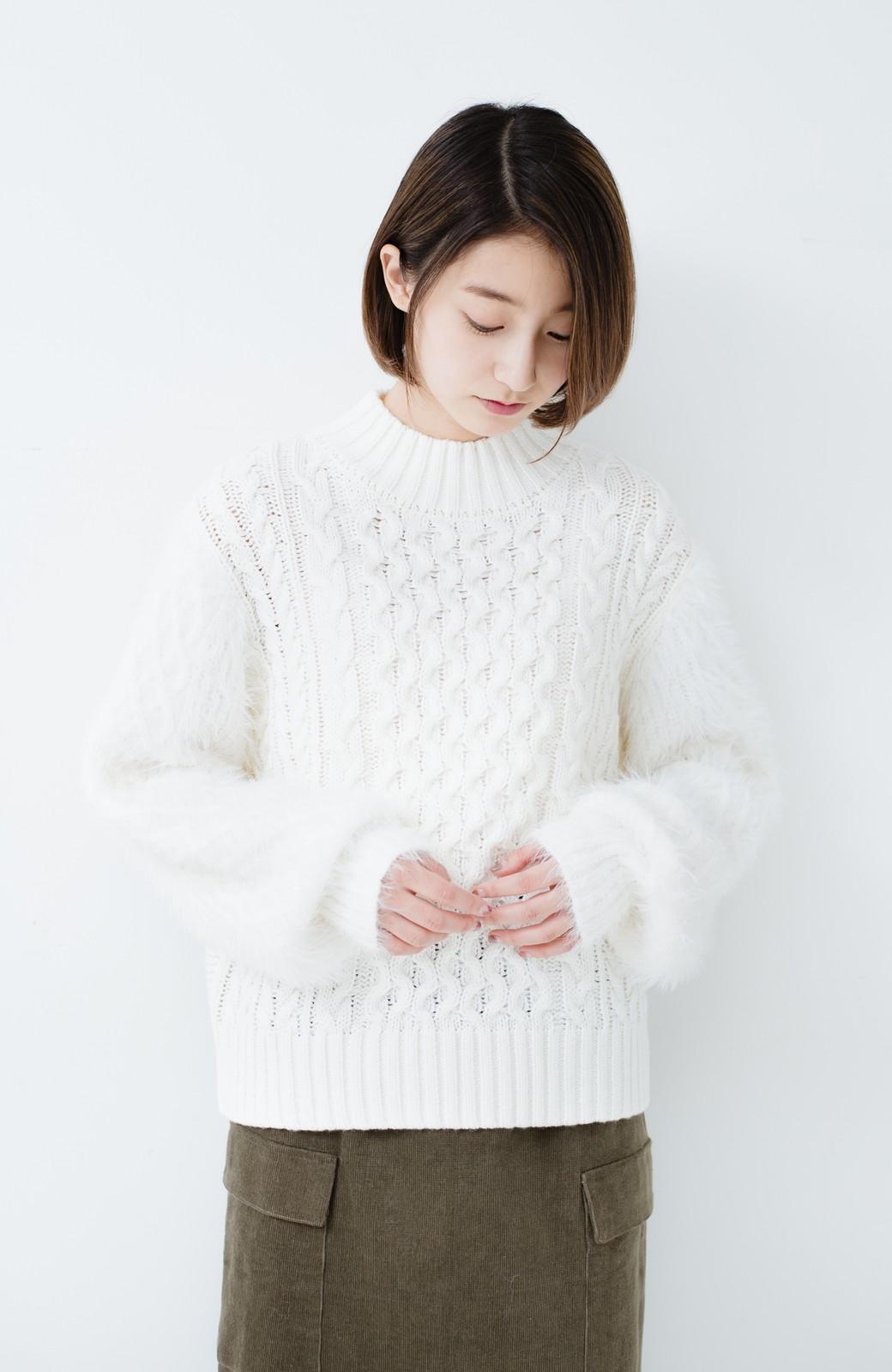 haco! ケーブル編みの袖フェザーヤーンニットトップス <ホワイト>の商品写真9