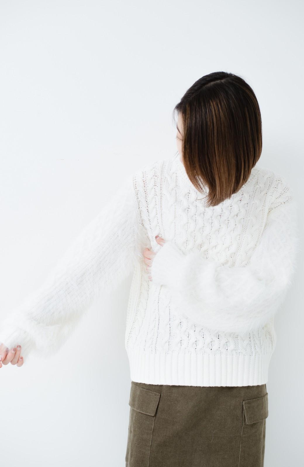 haco! ケーブル編みの袖フェザーヤーンニットトップス <ホワイト>の商品写真10