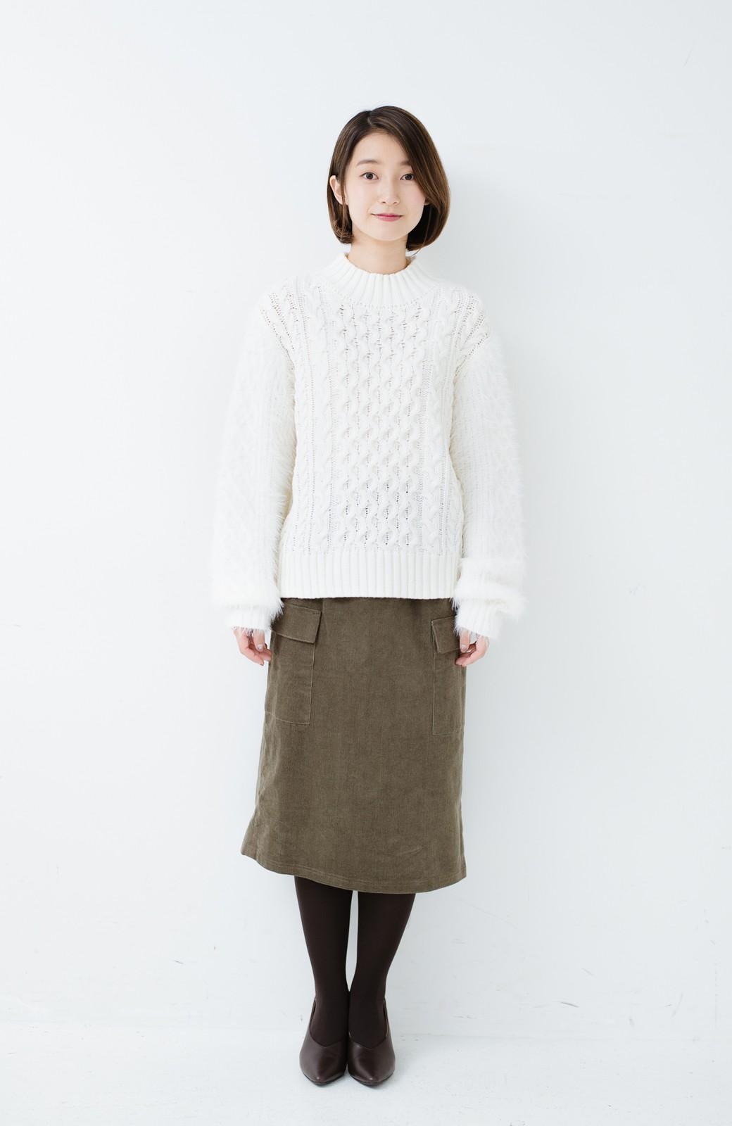 haco! ケーブル編みの袖フェザーヤーンニットトップス <ホワイト>の商品写真7