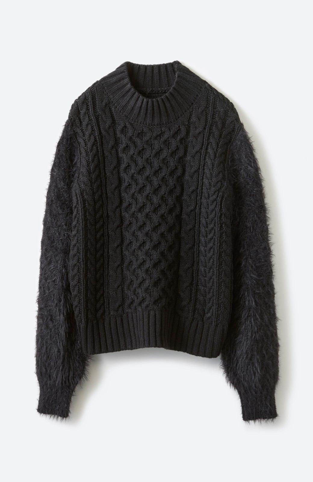 haco! ケーブル編みの袖フェザーヤーンニットトップス <ブラック>の商品写真2