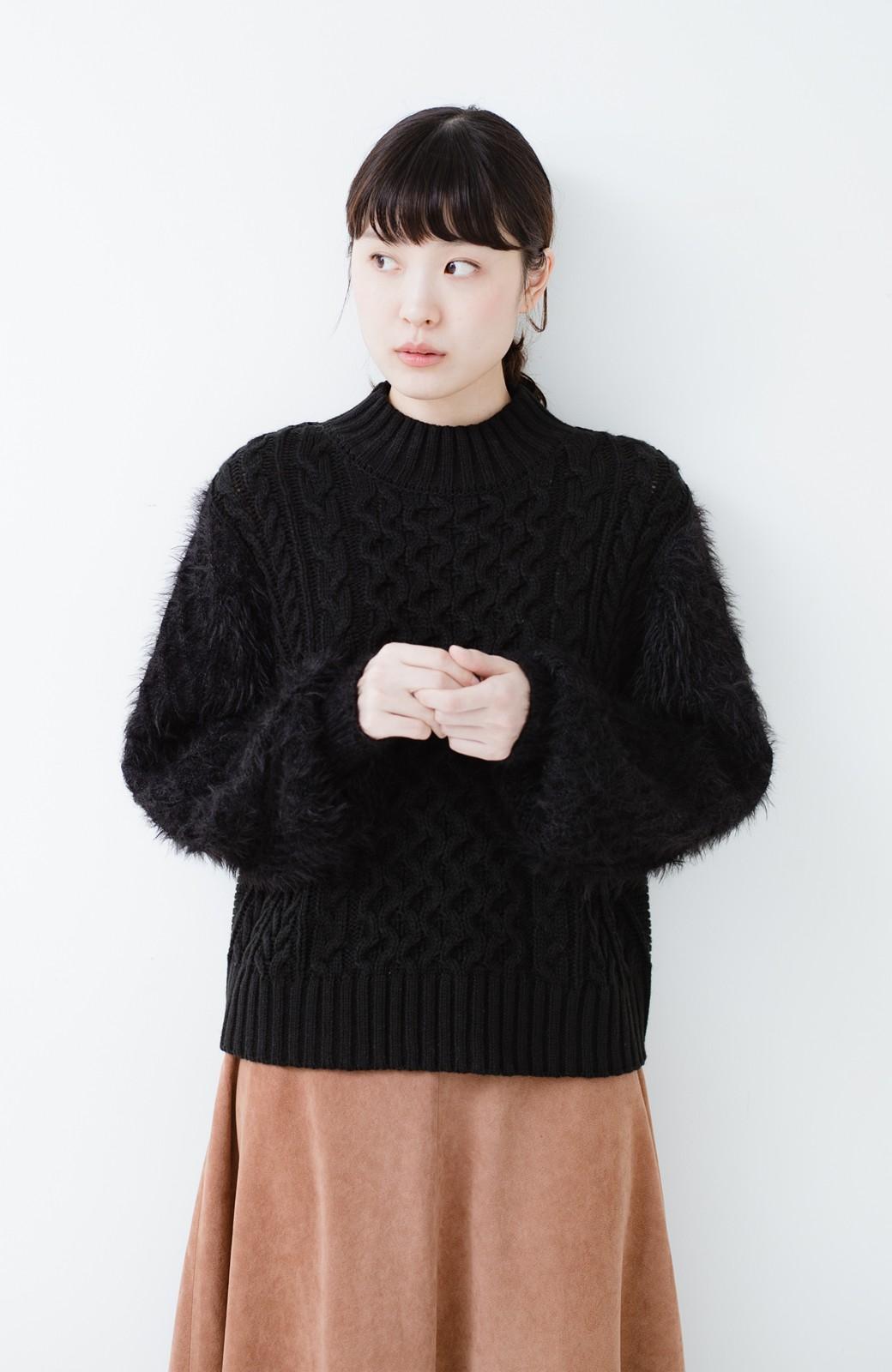 haco! ケーブル編みの袖フェザーヤーンニットトップス <ブラック>の商品写真6