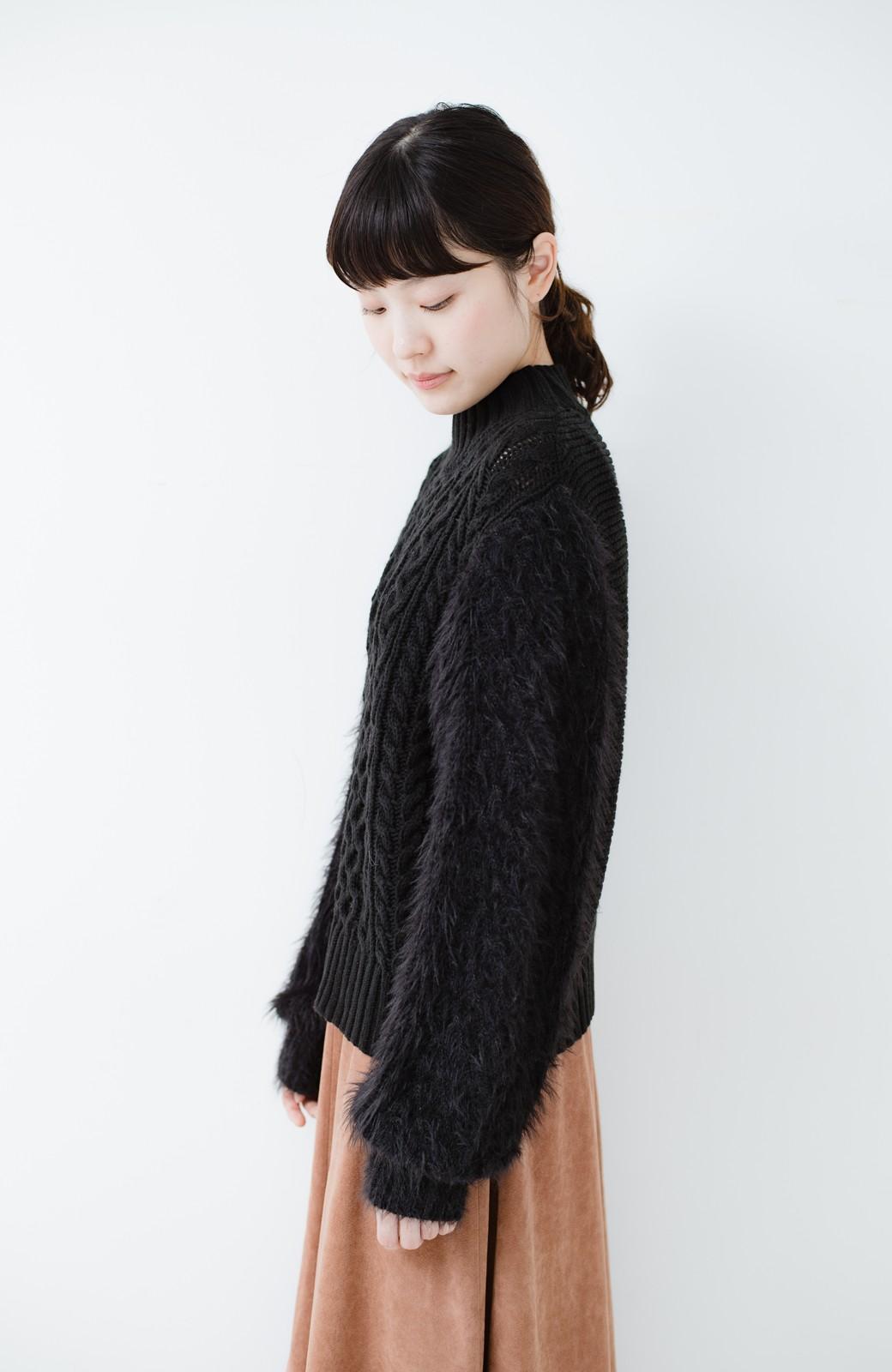 haco! ケーブル編みの袖フェザーヤーンニットトップス <ブラック>の商品写真7