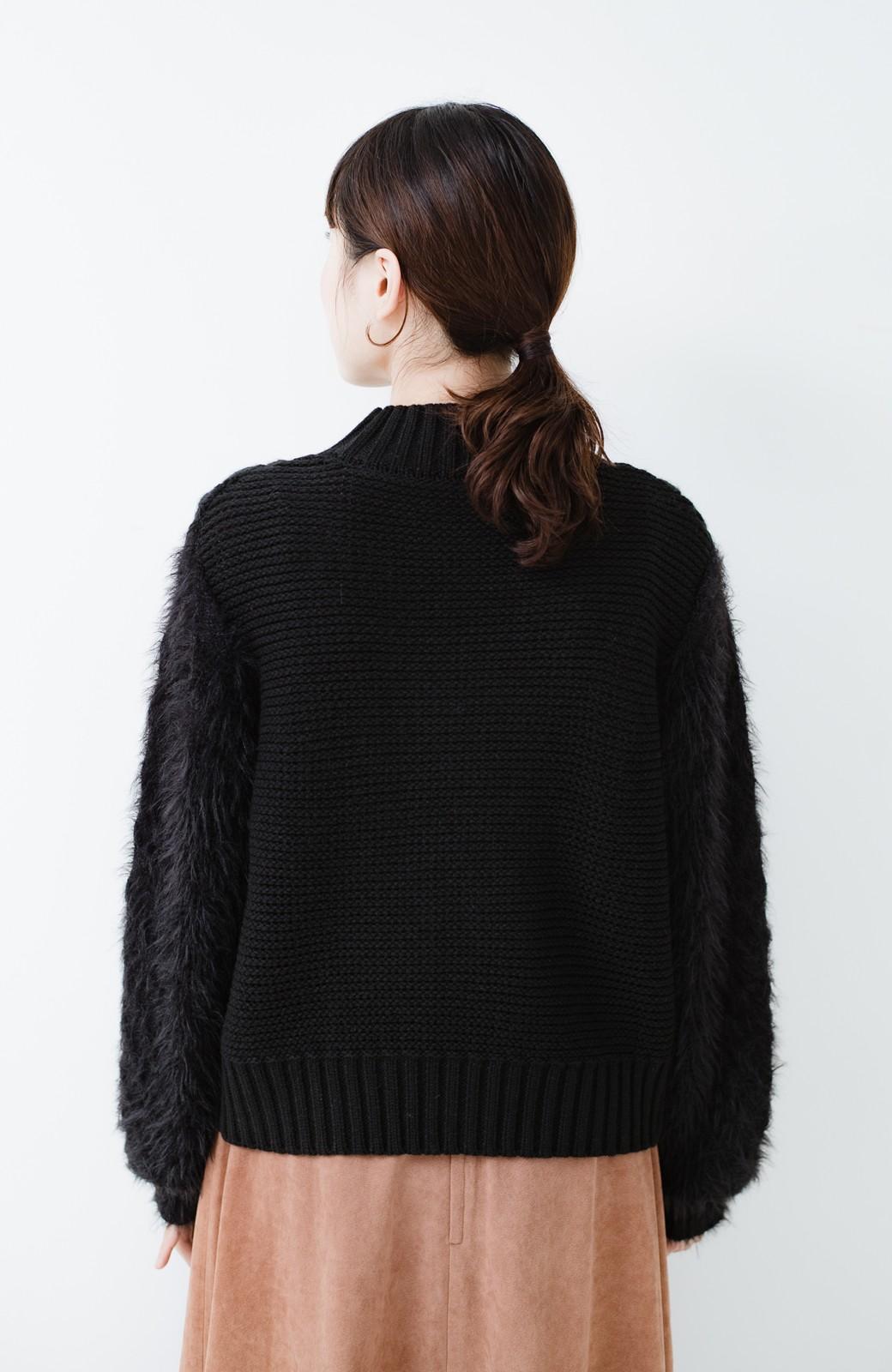 haco! ケーブル編みの袖フェザーヤーンニットトップス <ブラック>の商品写真8