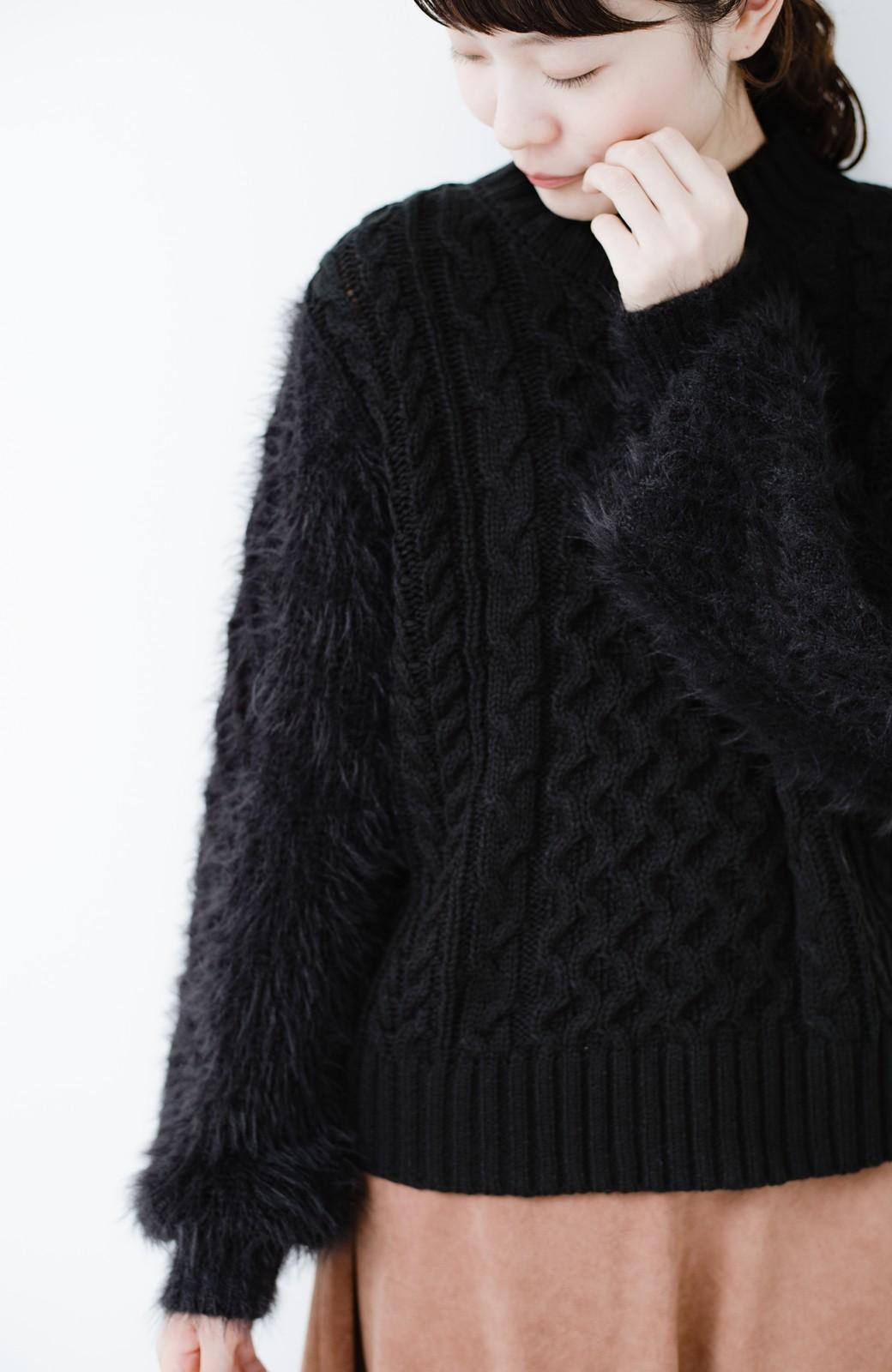 haco! ケーブル編みの袖フェザーヤーンニットトップス <ブラック>の商品写真10