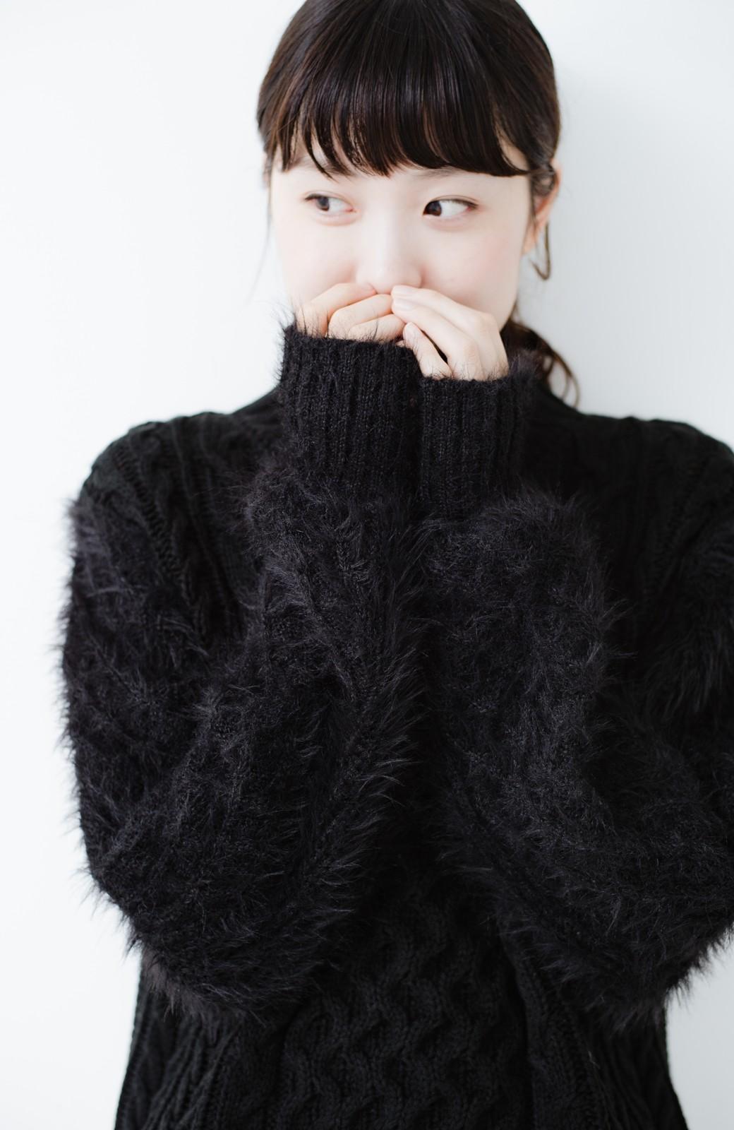 haco! ケーブル編みの袖フェザーヤーンニットトップス <ブラック>の商品写真11