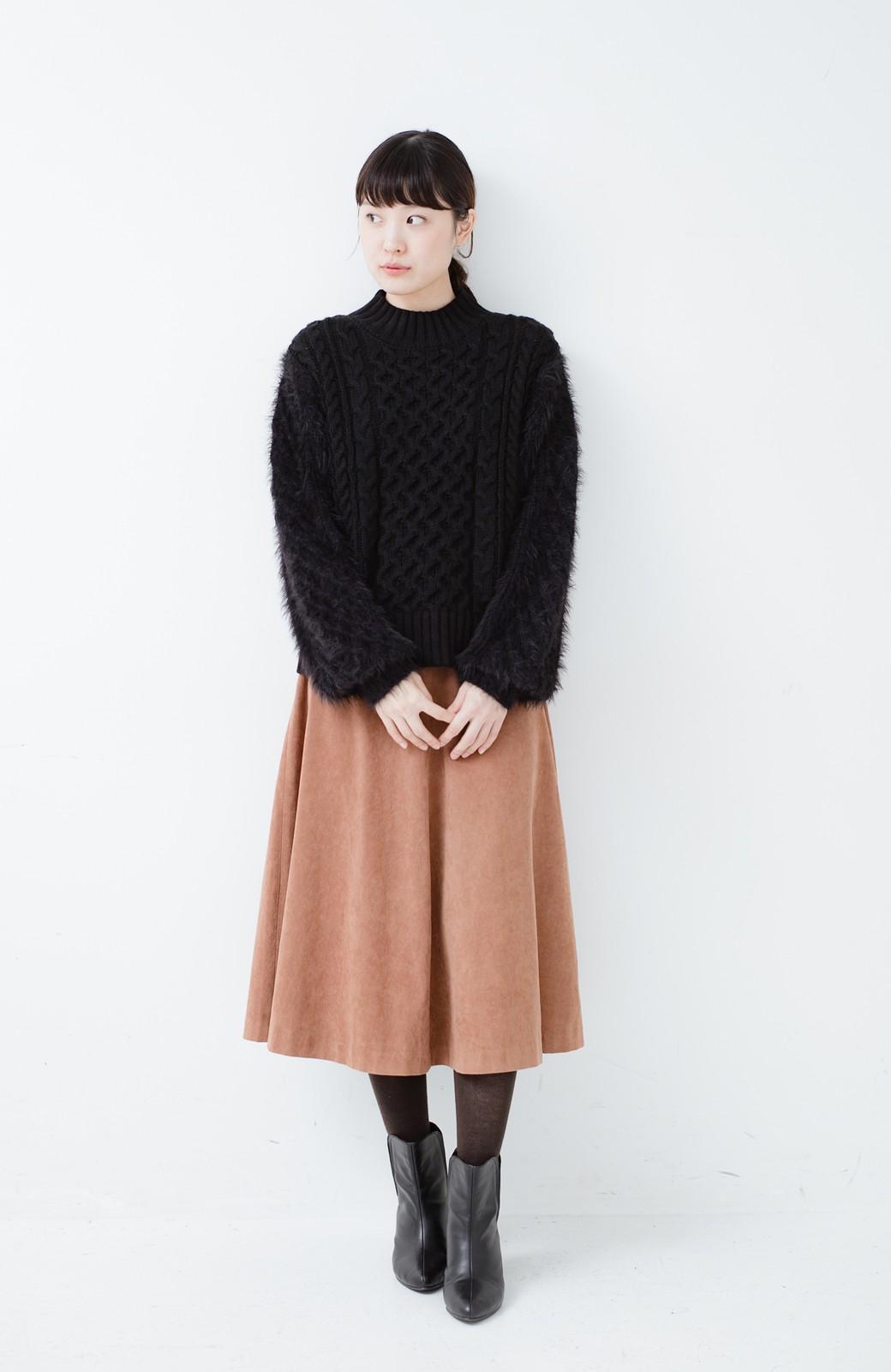 haco! ケーブル編みの袖フェザーヤーンニットトップス <ブラック>の商品写真5