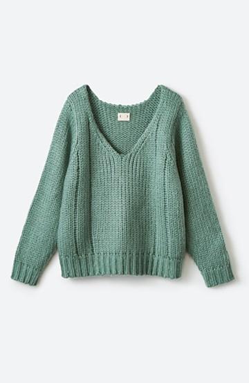 haco! さりげなく女っぽい 手編み風ざっくりニット <グリーン>の商品写真