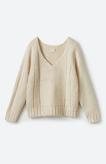haco! さりげなく女っぽい 手編み風ざっくりニット <アイボリー>の商品写真