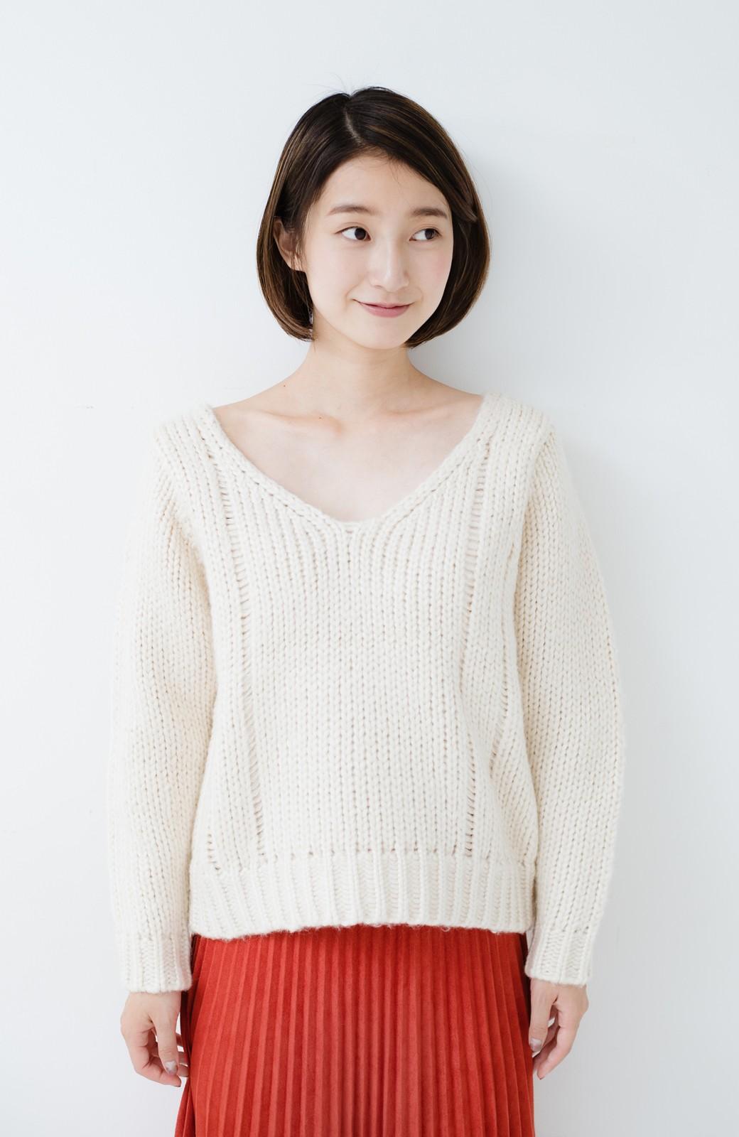 haco! さりげなく女っぽい 手編み風ざっくりニット <アイボリー>の商品写真14