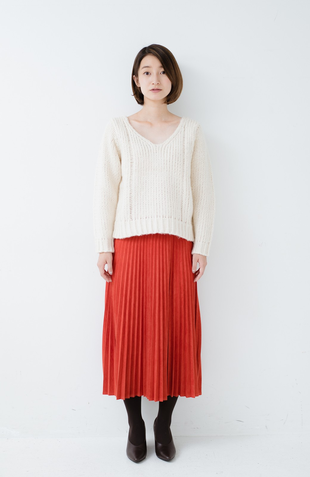 haco! さりげなく女っぽい 手編み風ざっくりニット <アイボリー>の商品写真6