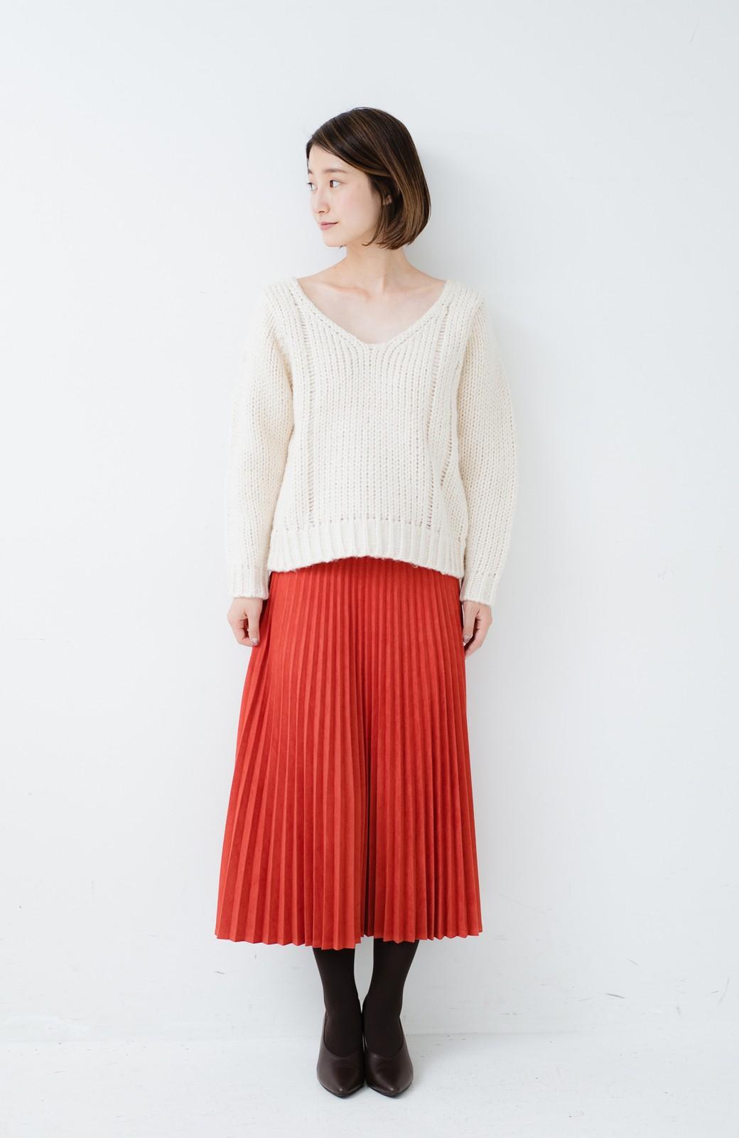 haco! さりげなく女っぽい 手編み風ざっくりニット <アイボリー>の商品写真7