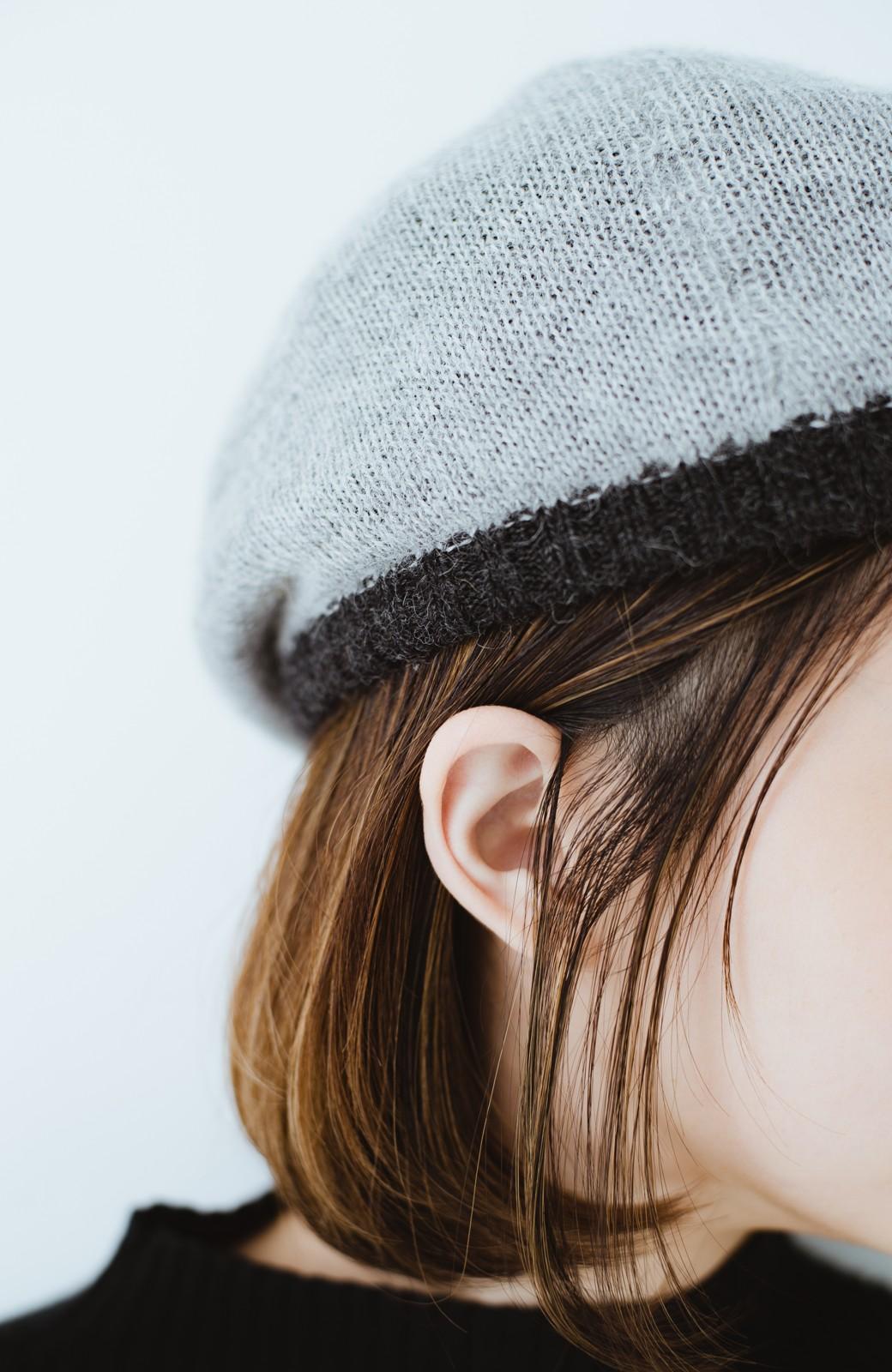 haco! ベビーアルパカ リバーシブルベレー帽 <チャコールグレー>の商品写真4