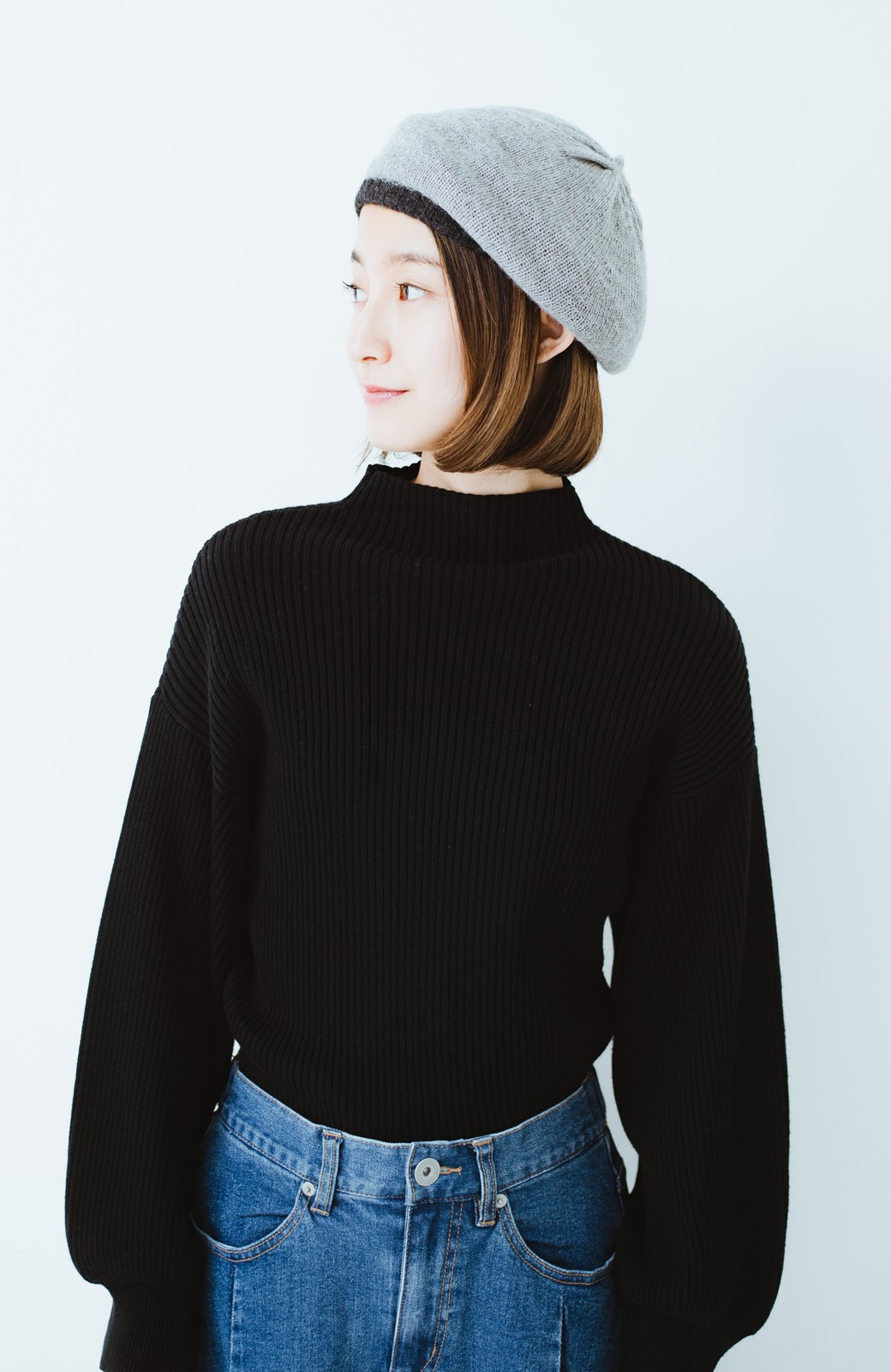 haco! ベビーアルパカ リバーシブルベレー帽 <チャコールグレー>の商品写真6