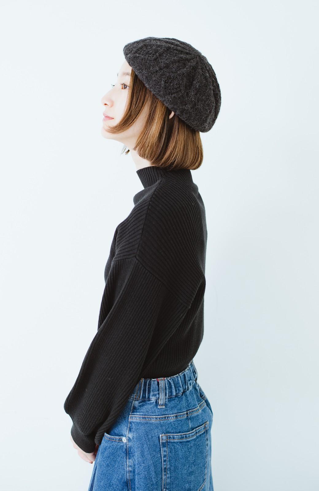 haco! ベビーアルパカ リバーシブルベレー帽 <チャコールグレー>の商品写真13