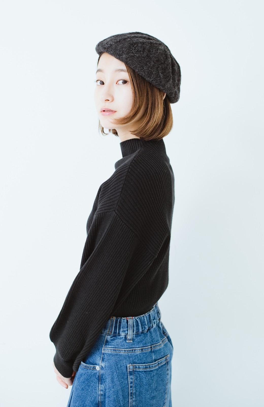 haco! ベビーアルパカ リバーシブルベレー帽 <チャコールグレー>の商品写真14