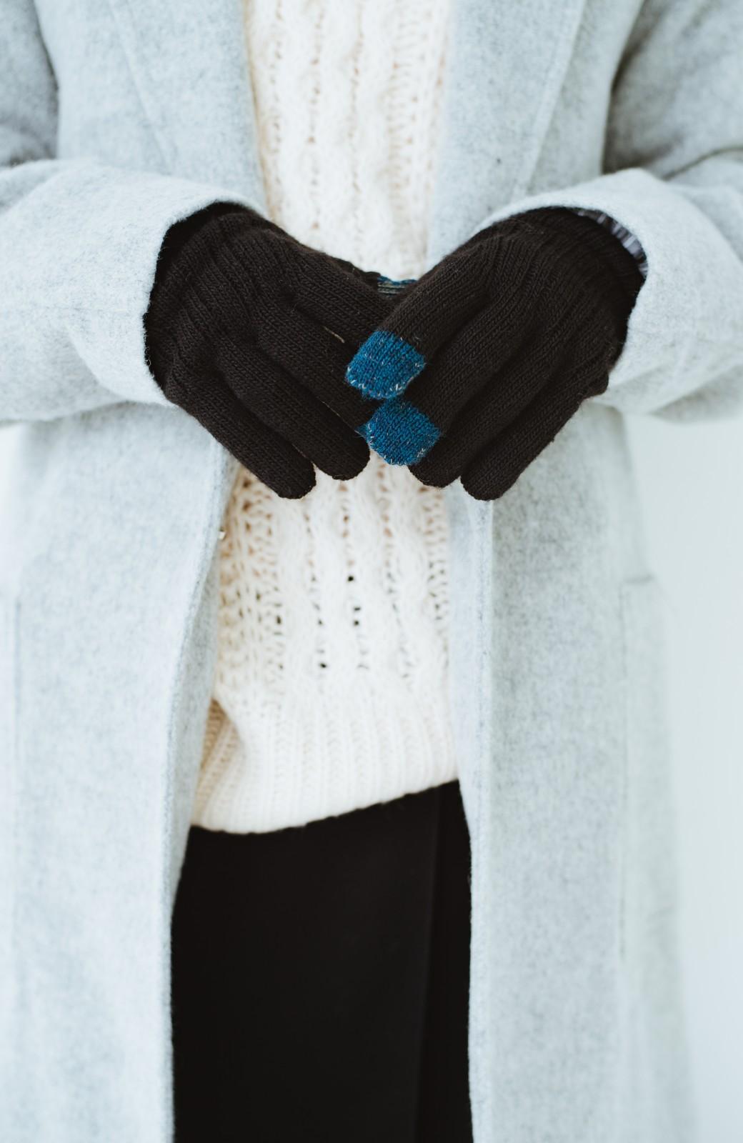 haco! タッチパネル対応手袋 イタリアンウールグローブ <ブラック>の商品写真4