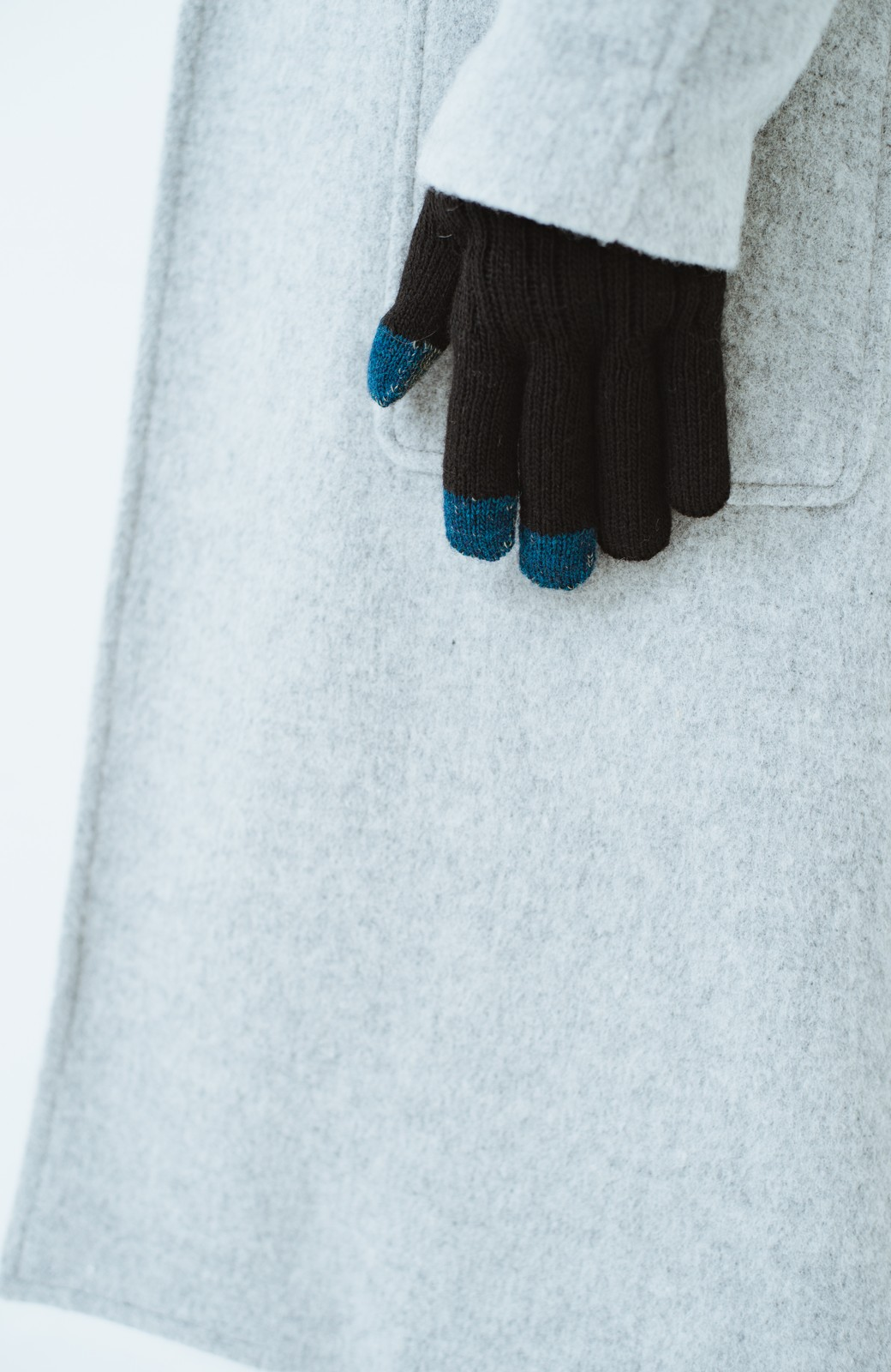 haco! タッチパネル対応手袋 イタリアンウールグローブ <ブラック>の商品写真5