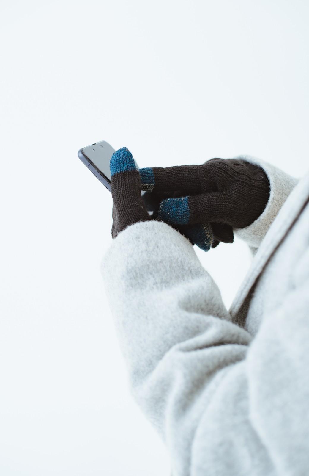 haco! タッチパネル対応手袋 イタリアンウールグローブ <ブラック>の商品写真6