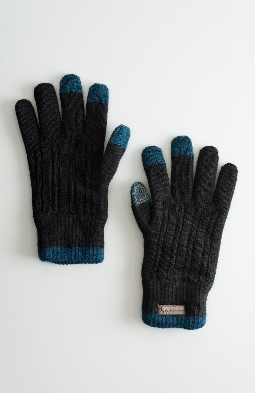 haco! タッチパネル対応手袋 イタリアンウールグローブ <ブラック>の商品写真1