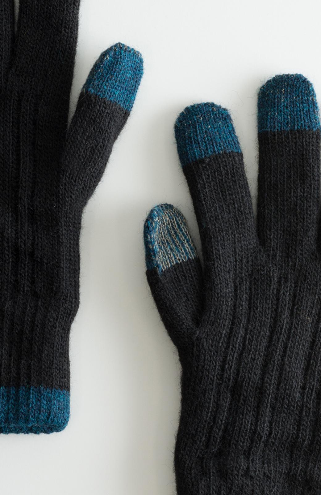 haco! タッチパネル対応手袋 イタリアンウールグローブ <ブラック>の商品写真2