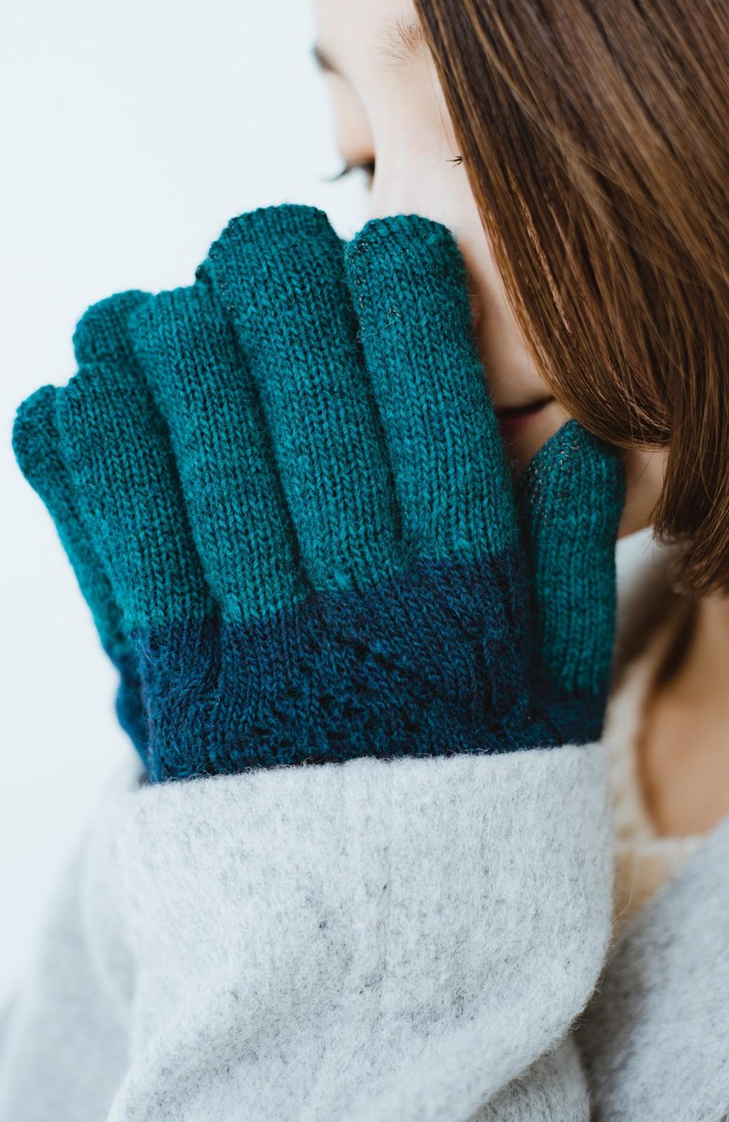 haco! タッチパネル対応手袋 イタリアンウールグローブ <ブルー系その他>の商品写真4