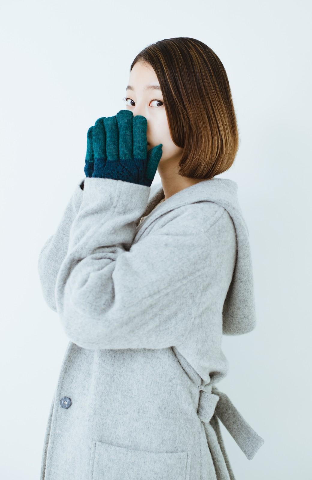 haco! タッチパネル対応手袋 イタリアンウールグローブ <ブルー系その他>の商品写真6