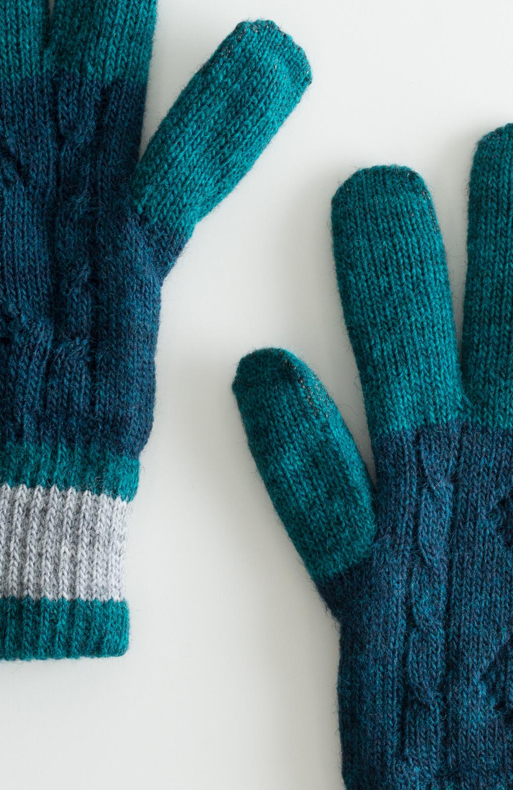 haco! タッチパネル対応手袋 イタリアンウールグローブ <ブルー系その他>の商品写真2