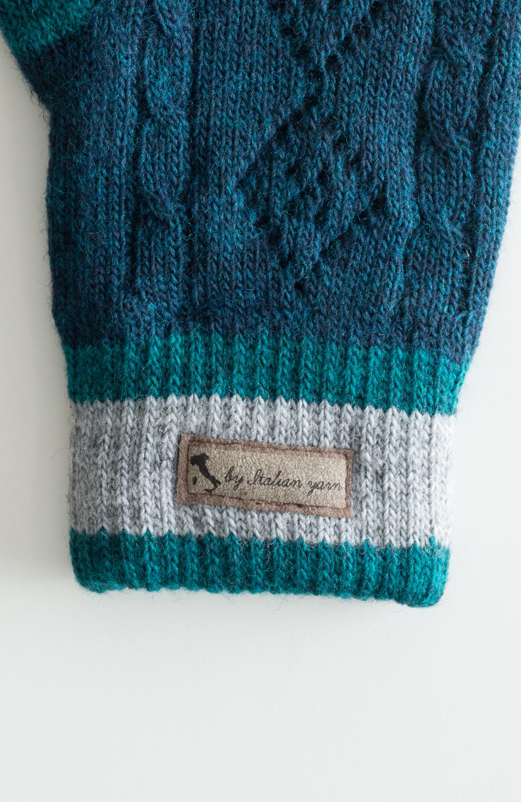 haco! タッチパネル対応手袋 イタリアンウールグローブ <ブルー系その他>の商品写真3