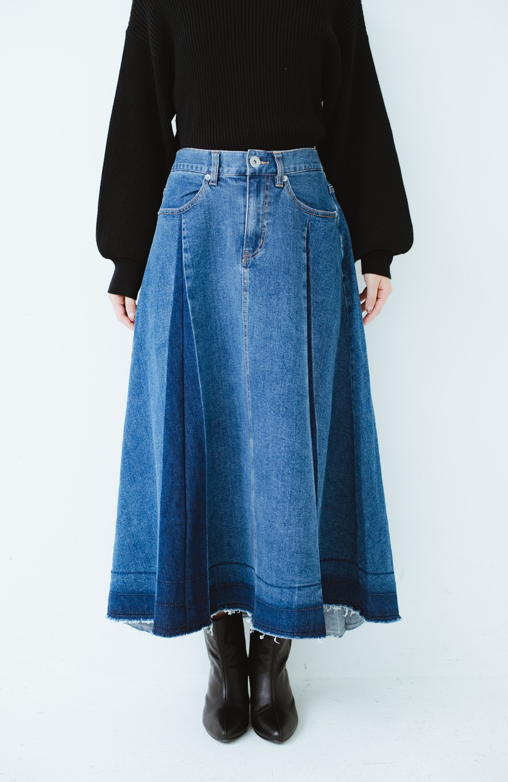 haco! 【再再再入荷!】デニムパネルプリーツスカート <ブルー>の商品写真4