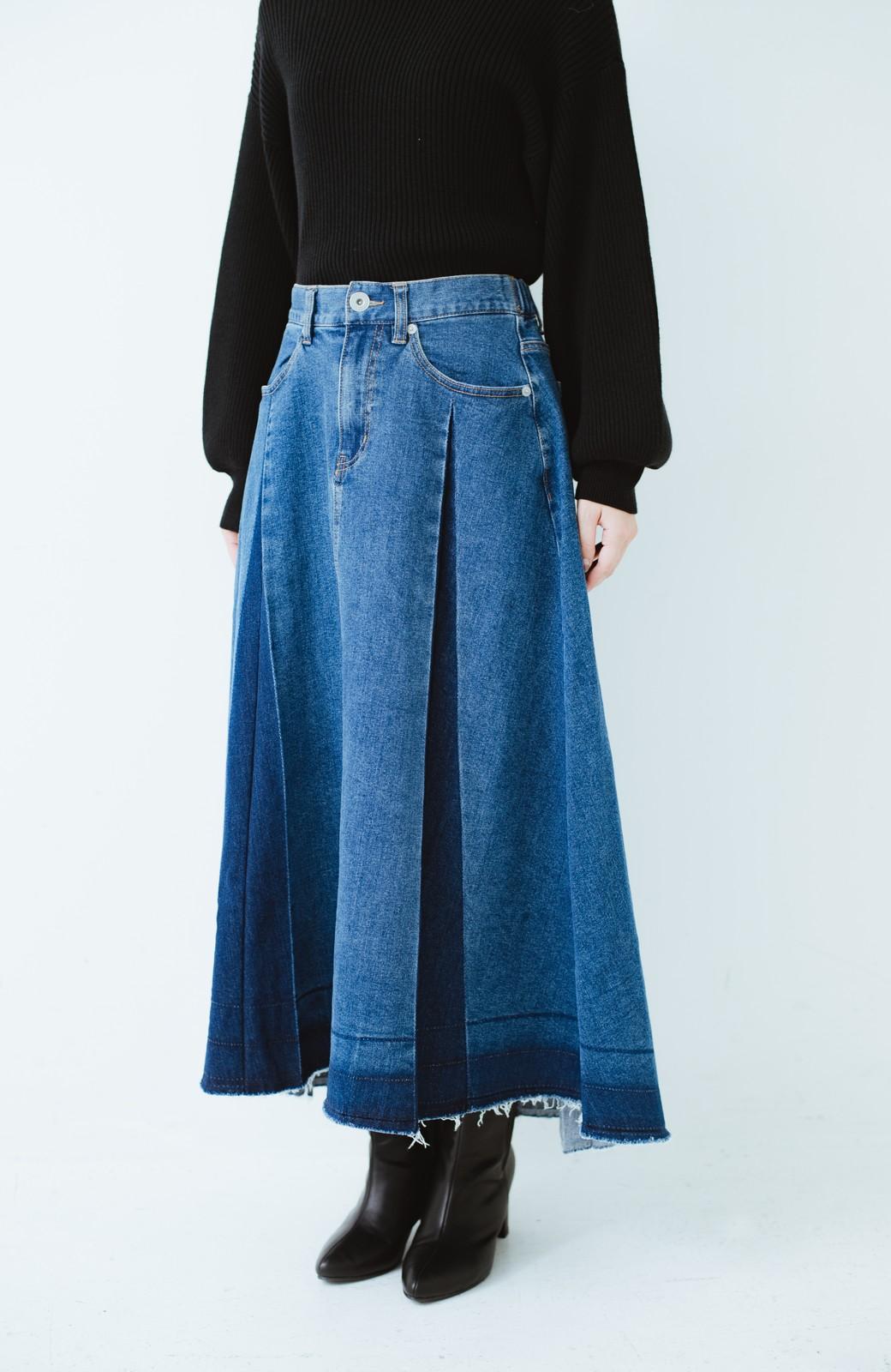 haco! 【再再再入荷!】デニムパネルプリーツスカート <ブルー>の商品写真27