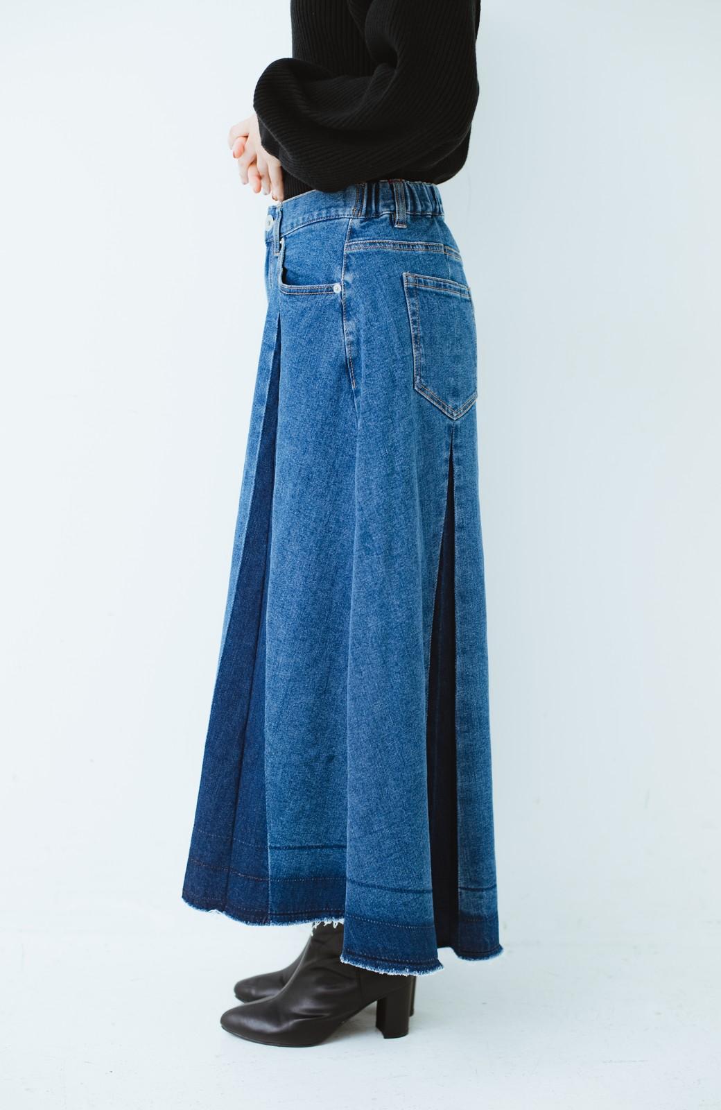 haco! 【新色登場&再入荷!】デニムパネルプリーツスカート <ブルー>の商品写真36