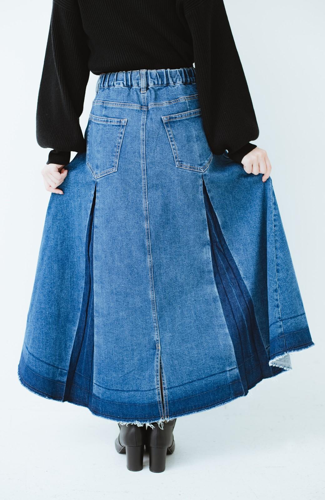 haco! 【再再再入荷!】デニムパネルプリーツスカート <ブルー>の商品写真7