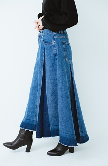 haco! デニムパネルプリーツスカート <ブルー>の商品写真