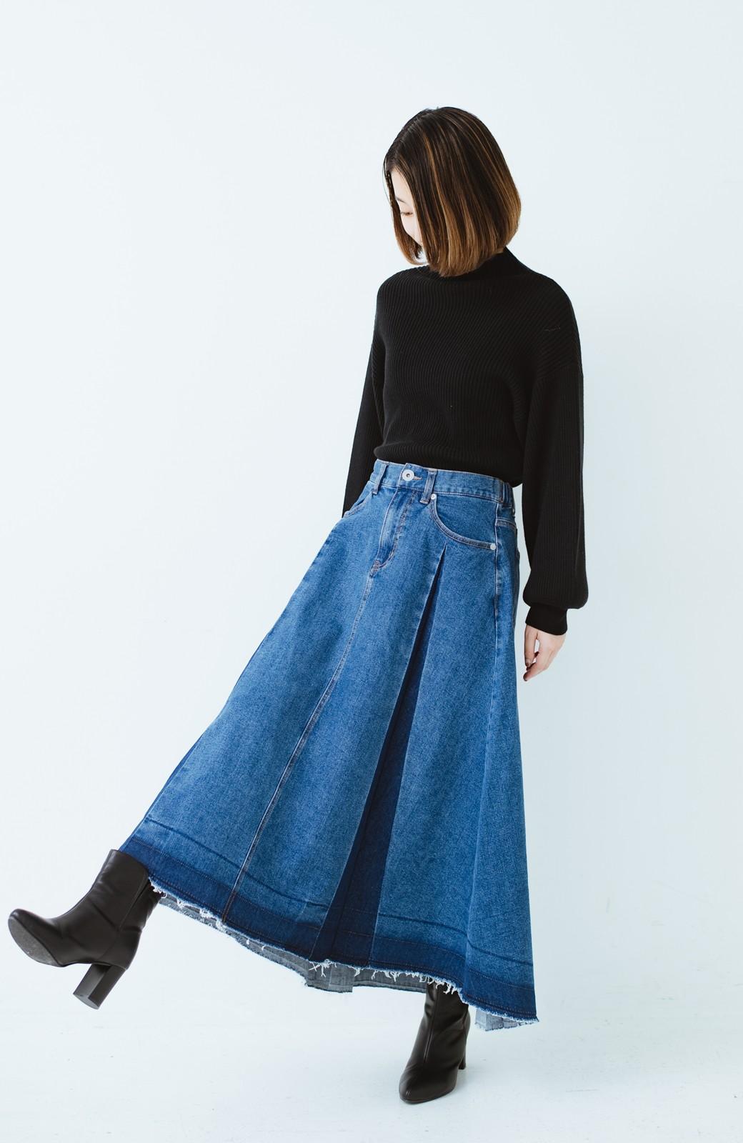 haco! 【再再再入荷!】デニムパネルプリーツスカート <ブルー>の商品写真3