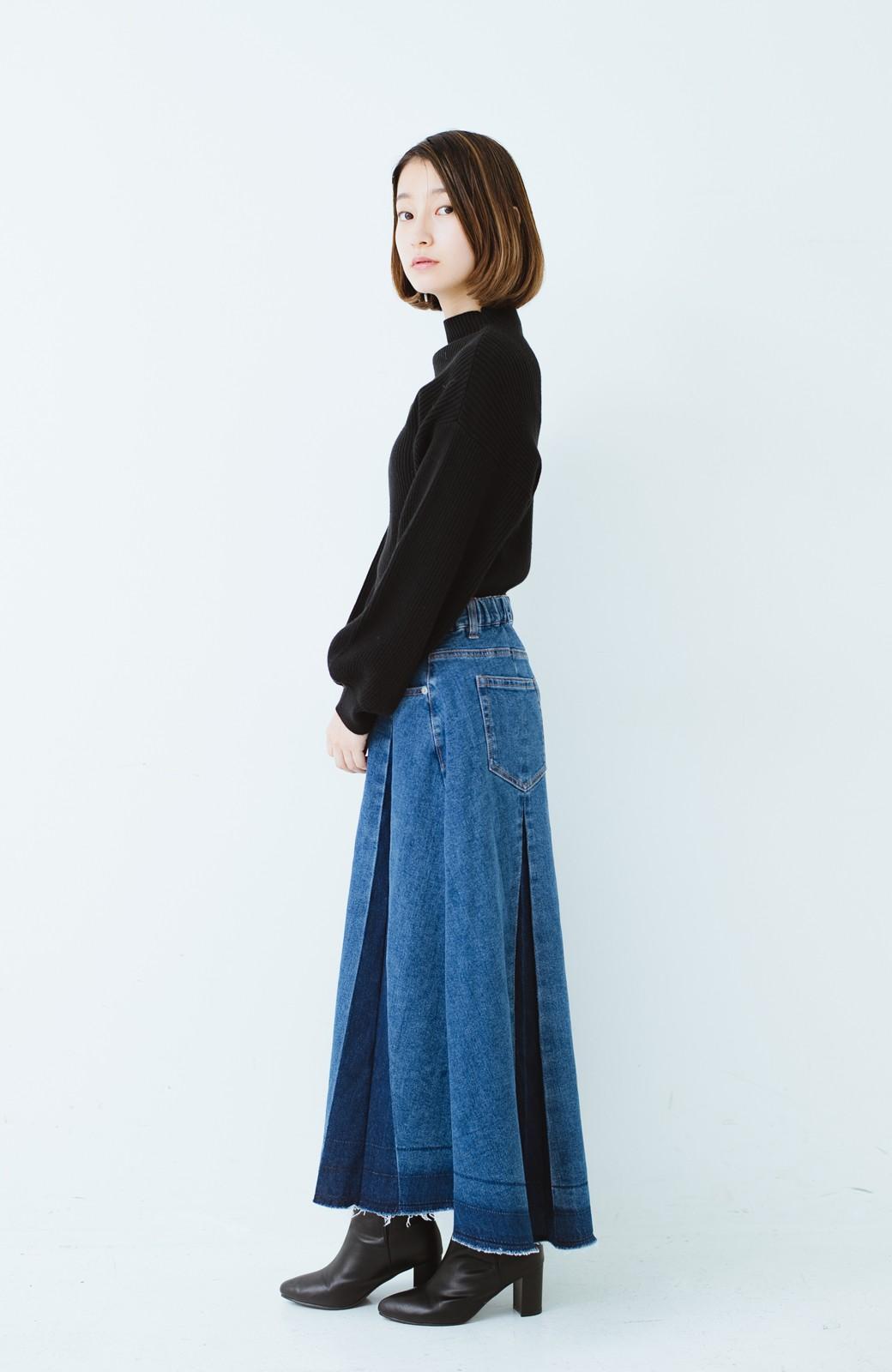 haco! 【再再再入荷!】デニムパネルプリーツスカート <ブルー>の商品写真30