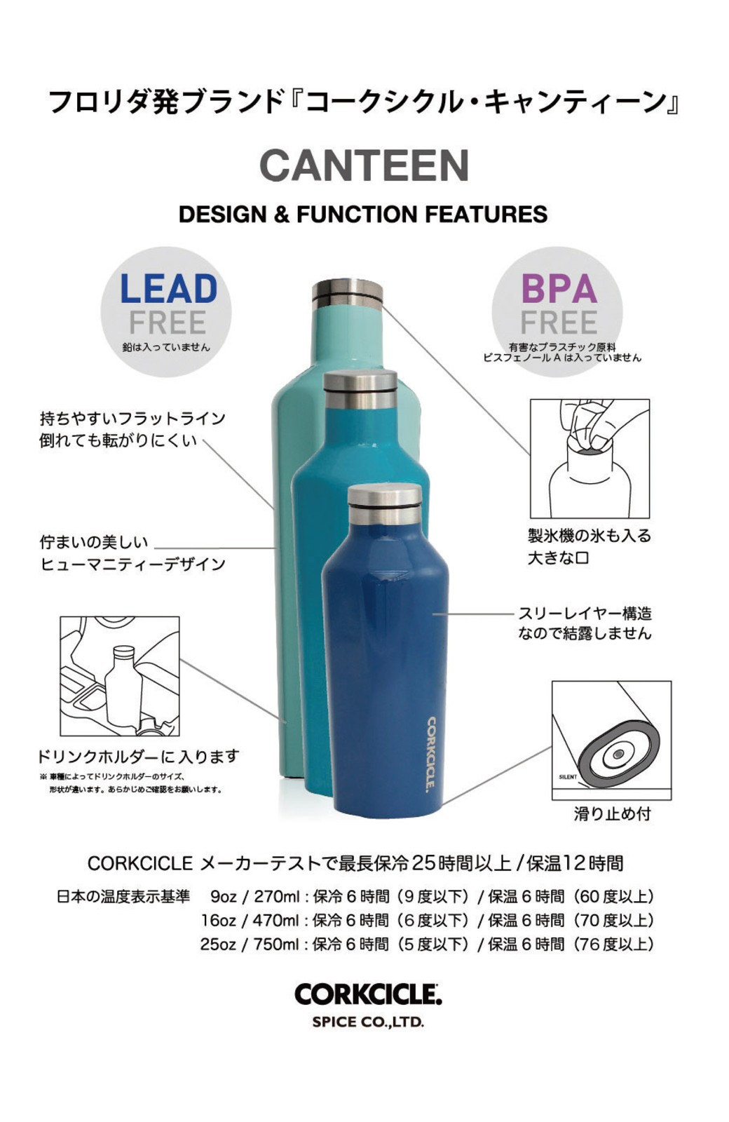 haco! CORKCICLE CANTEEN 9OZ/270ml <サーモンピンク>の商品写真3