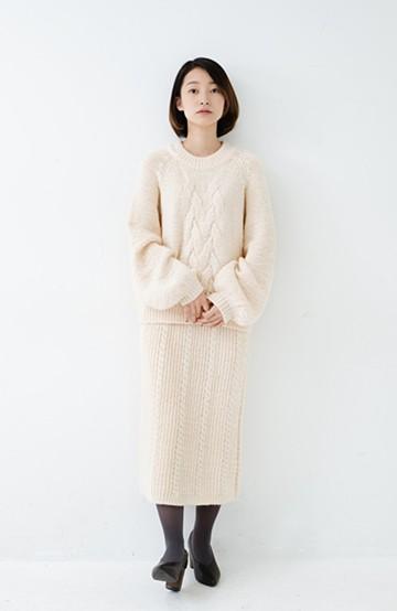 haco! ケーブル編みがかわいい万能ニットアップ <アイボリー>の商品写真