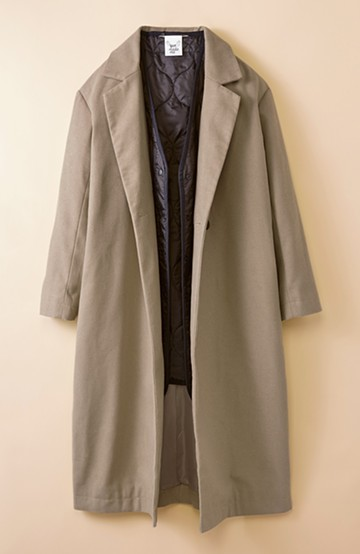 haco! 女っぽロングコート&キルティングジャケットセット by que made me <グレイッシュベージュ>の商品写真
