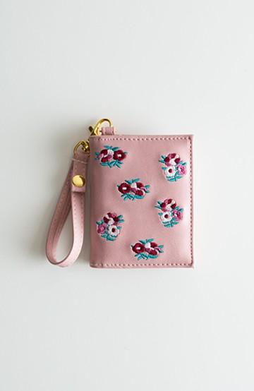 haco! polkapolka モチーフ刺繍パスケース フラワー <ピンク>の商品写真
