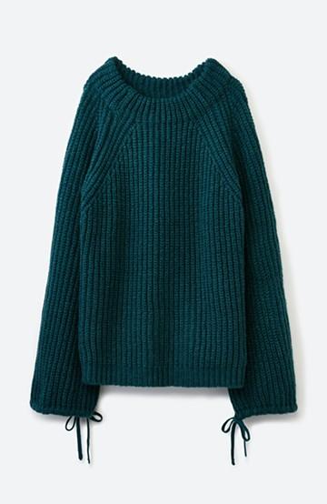 haco! ボリューム感が華奢見せさせる 袖リボンあぜ編みニット <グリーン>の商品写真