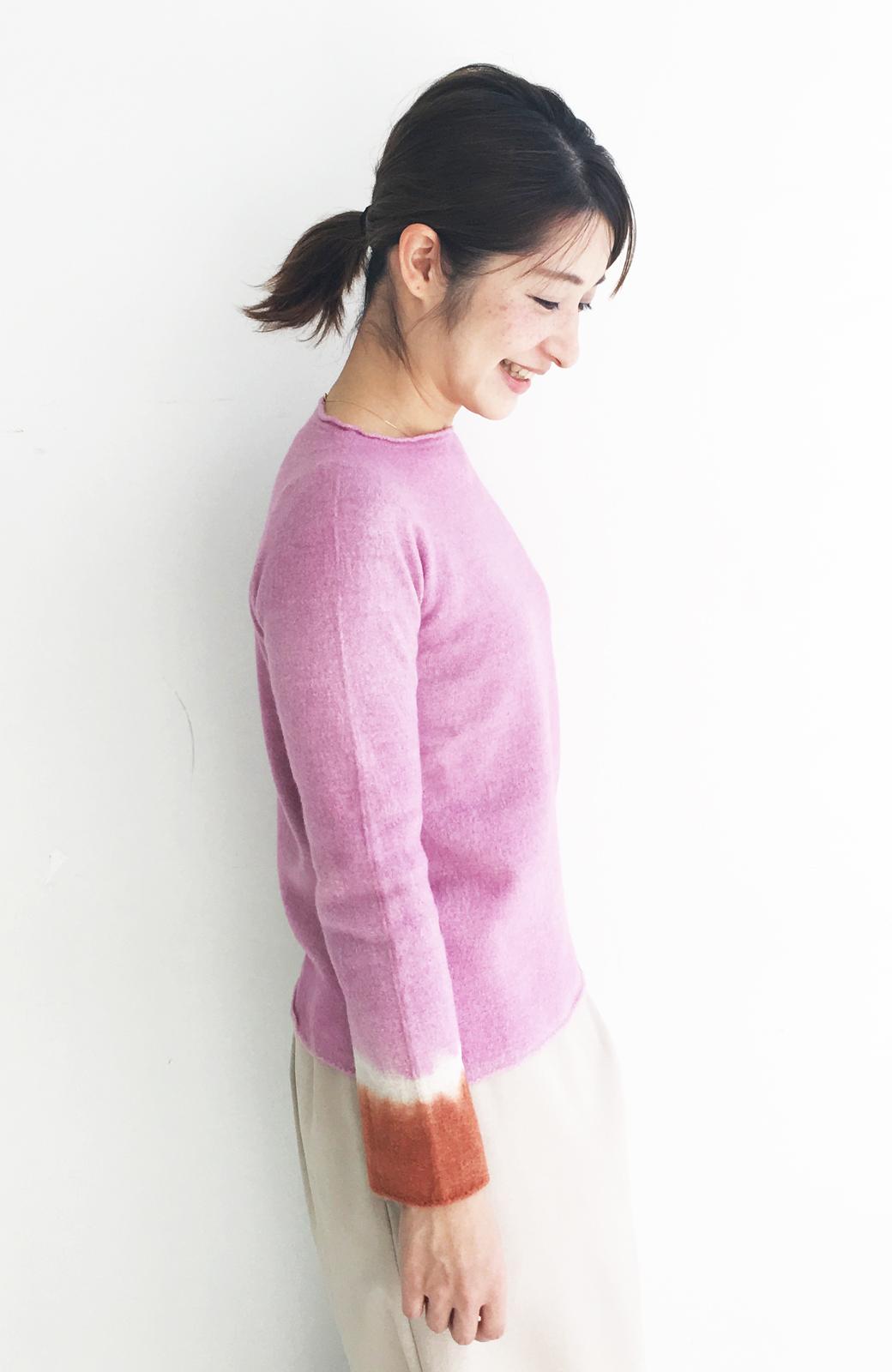 haco! Qualia 手染めホールガーメントニット <ピンク>の商品写真4