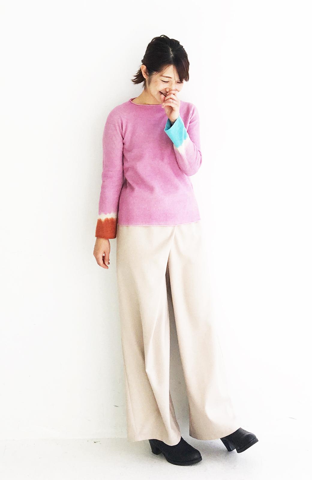 haco! Qualia 手染めホールガーメントニット <ピンク>の商品写真8