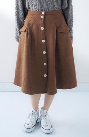 pilvee フロントボタンのぽんわりミディアム丈スカート <ブラウン>の商品写真