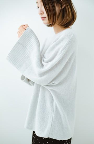 haco! 太め袖がかわいい横編みプルオーバーニット <ライトグレー>の商品写真