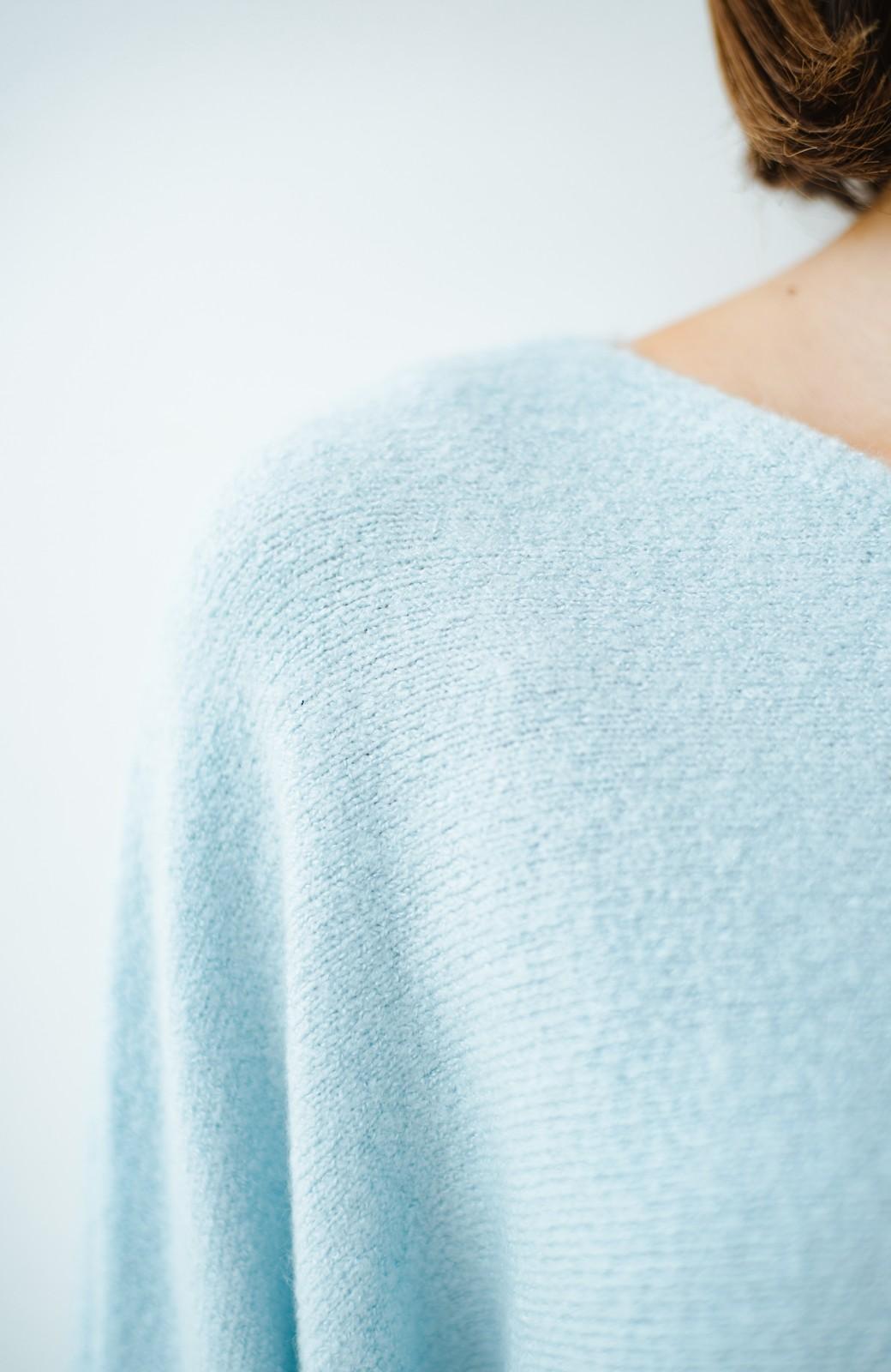 haco! 太め袖がかわいい横編みプルオーバーニット <ライトブルー>の商品写真4