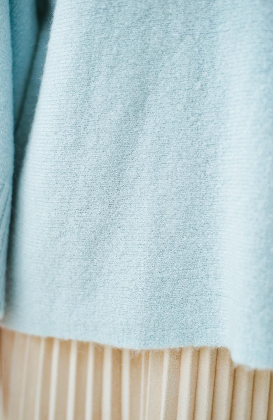 haco! 太め袖がかわいい横編みプルオーバーニット <ライトブルー>の商品写真7