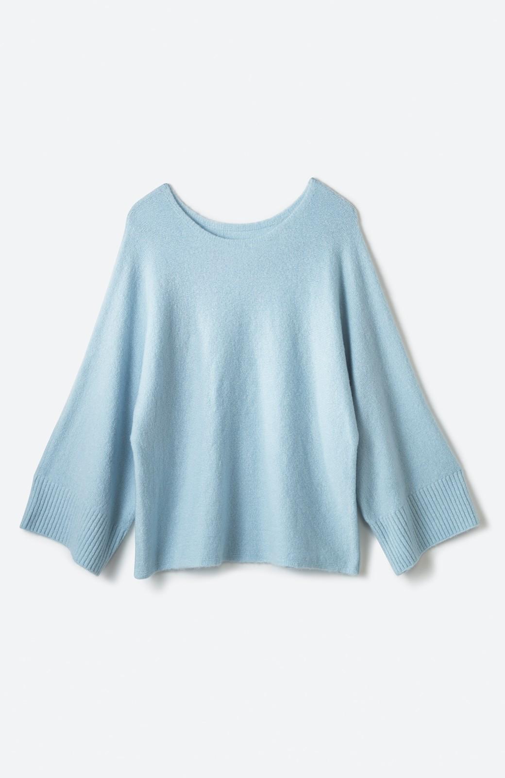 haco! 太め袖がかわいい横編みプルオーバーニット <ライトブルー>の商品写真2